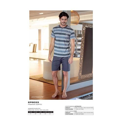 2c4b77ab378b EP9033 Enrico Coveri Pigiama uomo maniche corte e pantaloncino ART.EP9033